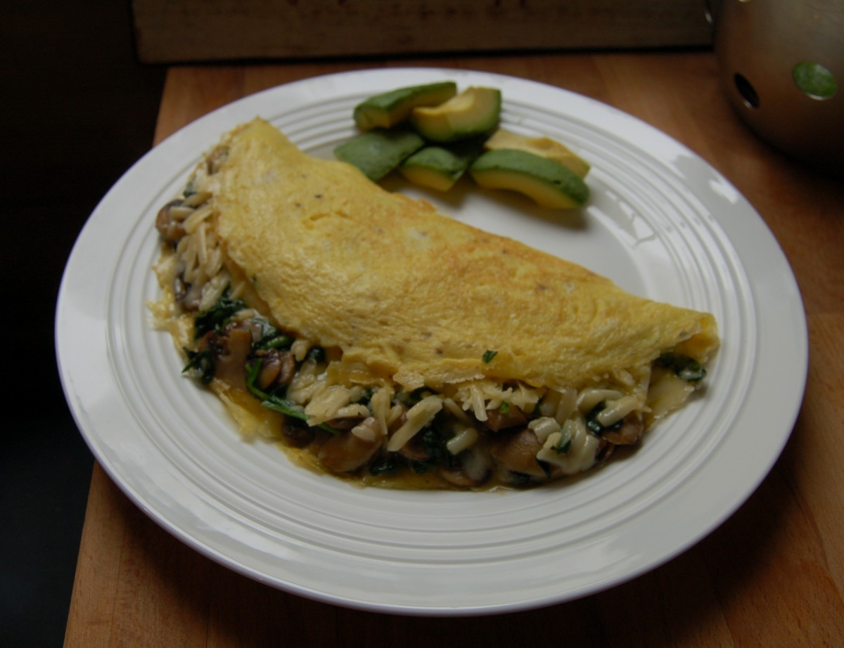 Mushroom, spinach and gruyere omelette