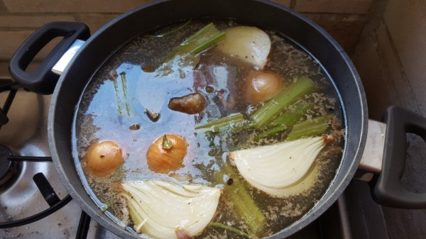 Beef broth cooking away